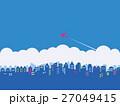 都市風景 雲 飛行機 27049415
