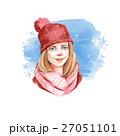 Winter card. Girl in red cap. Watercolor  27051101