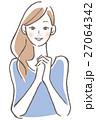 女性 手を組む 笑顔 27064342