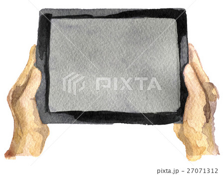 watercolor sketch of tablet on a white backgroundのイラスト素材 [27071312] - PIXTA