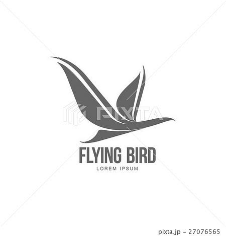 Stylized heron, crane, stork silhouette logo 27076565