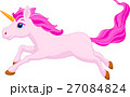 Pink unicorn cartoon running 27084824