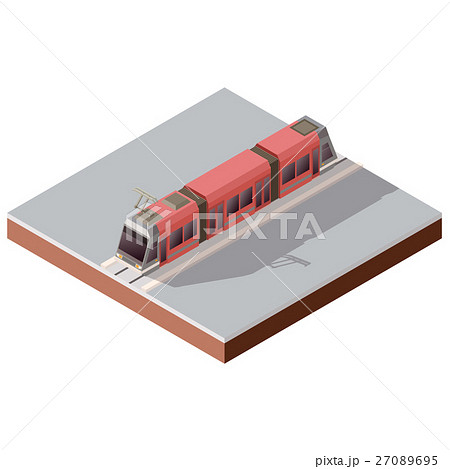 Isometric light train on the rails 27089695