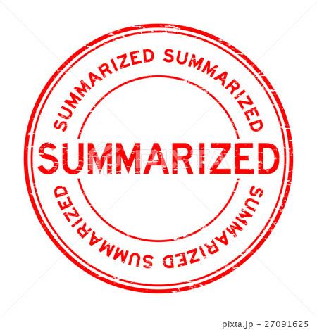 Grunge red summarized round rubber stamp 27091625