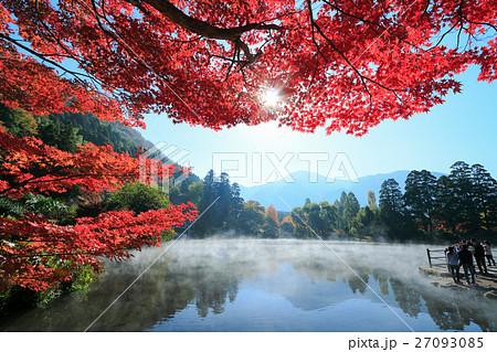 秋の由布院 湯気たちこめる朝の金鱗湖と紅葉 27093085