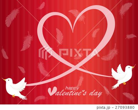 バレンタイン 鳩とハートの背景素材 27093880