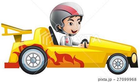 Boy in yellow racing car 27099968