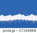 都市風景 雲 飛行機 27106868
