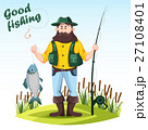 Fisherman with rod or spinning and catched fish 27108401