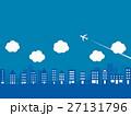 都市風景 飛行機 雲 27131796