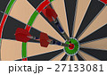 Three arrows hitting the bulls eye on a dartboard 27133081