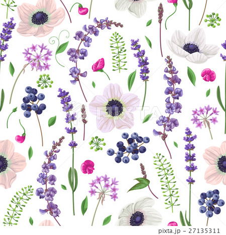 Seamless pattern with flowers and berries.のイラスト素材 [27135311] - PIXTA