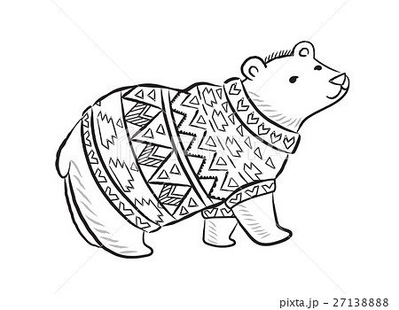 Hand drawn outline print with polar bear in winter 27138888