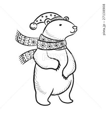 Hand drawn outline print with polar bear in winter 27138908