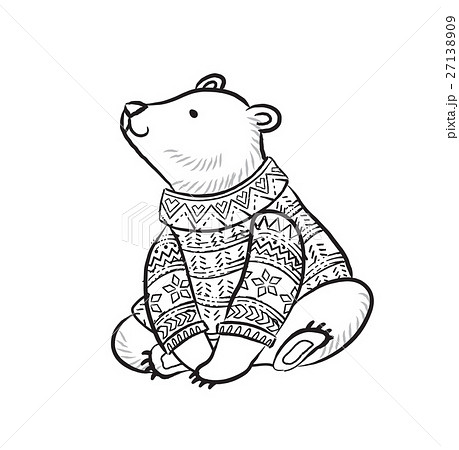 Hand drawn outline print with polar bear in winter 27138909
