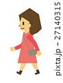 女性 歩く フラット人間のイラスト 27140315