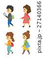 歩く 女性 セットのイラスト 27140366