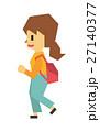 女性 歩く フラット人間のイラスト 27140377
