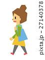 女性 歩く フラット人間のイラスト 27140378