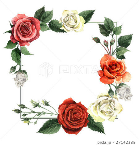 Wildflower rose flower frame in a watercolor style 27142338