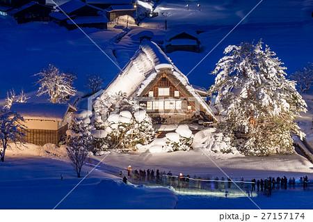 岐阜_白川郷雪のライトアップ 27157174