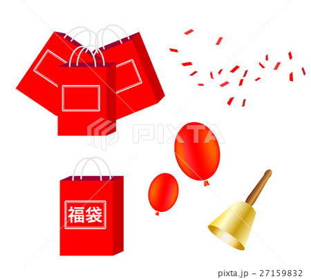 福袋、赤、正面、単体、ひとつ、単品、袋、鐘、ベル、風船、紙吹雪、セール、初売り、お年玉、 27159832