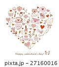 ハート バレンタイン セットのイラスト 27160016