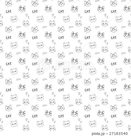 トレンドのおしゃれな落書き風 猫柄シームレスパターン 白背景 アニマル柄 27163540