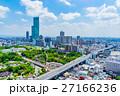 【大阪府】大阪の都市風景 青い空と白い雲 27166236