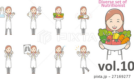 白衣を着た栄養士の女性vol.10(様々な表情やポーズをセット) 27169277
