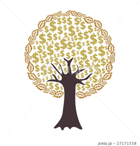 Money tree with dollar signs as leavesのイラスト素材 [27171558] - PIXTA