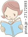 本を読む若い女性(ドット水色) 27172893