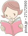 本を読む若い女性(ピンク) 27172900