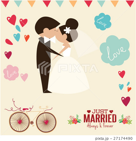 wedding invitation card template vector のイラスト素材 27174490