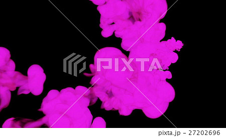 violet ink drop in water on a black background for 27202696