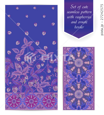 Summer seamless pattern with lilac raspberryのイラスト素材 [27242575] - PIXTA