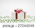 Gift box decorate carnation flower on ribbon bow 27244549