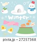 シンプルかわいい冬イメージのイラストカット・アイコン素材セット ベクター 27257368