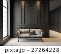 Sofa in classic black interior. 3D render mock up. 27264228