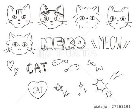 アナログ手書き・落書き風 猫のイラストカット セット素材 背景透過png・ベクター