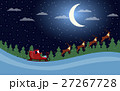 Santa Claus is flying in a sleigh with reindeer.  27267728