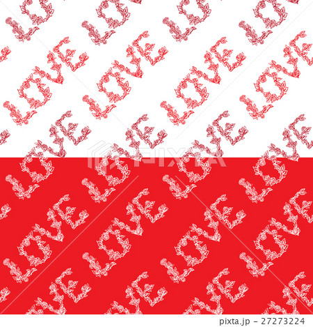 Seamless pattern with word LOVE のイラスト素材 [27273224] - PIXTA