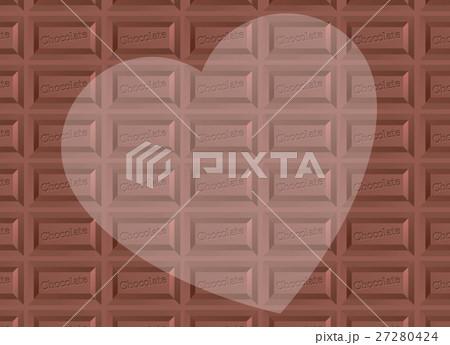 板チョコ柄背景とハートのコピースペース バレンタイン 横長 27280424