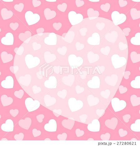 ピンクのハート柄+ハートのコピースペース 背景素材 バレンタイン 正方形 27280621