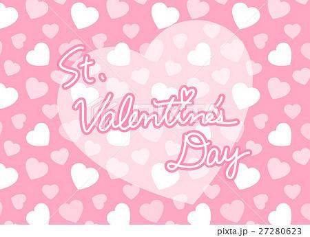 ピンクのハート柄背景とSt.Valentine's Dayロゴ バレンタイン 横長 27280623