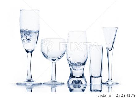 Various glasses with transparent liquidの写真素材 [27284178] - PIXTA