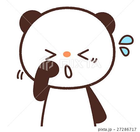 かわいいパンダのキャラクター 目が痒いイメージ 背景透過・白背景・ベクター 花粉症 27286717