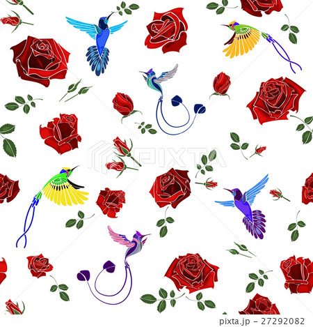 Exotic colibri birds with rose flowers colorful onのイラスト素材 [27292082] - PIXTA