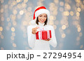 smiling woman in santa helper hat with gift box 27294954