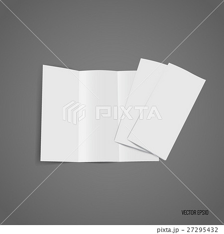 trifold white template paper vector illustrationのイラスト素材